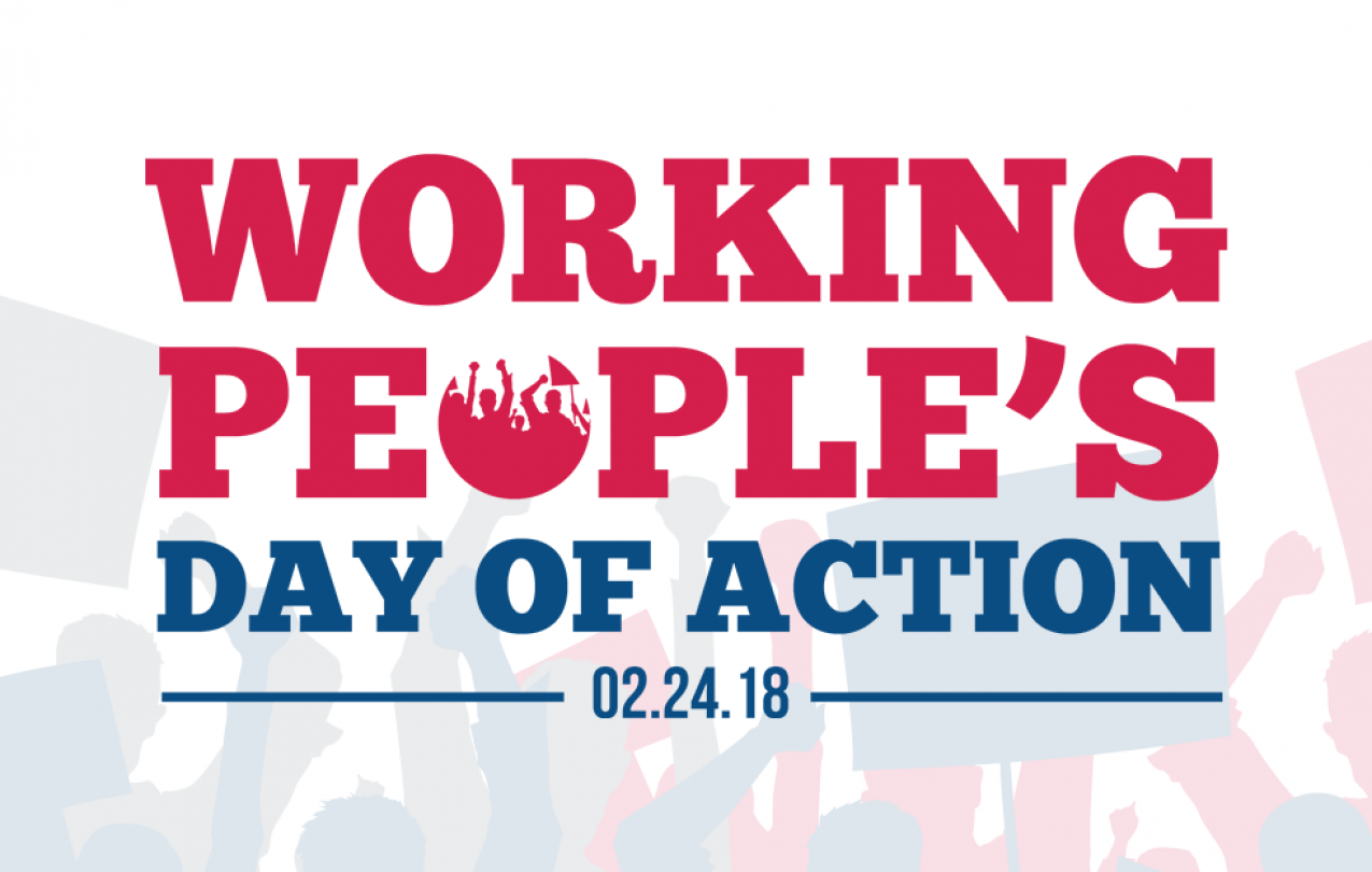 Working Peoples Day of Action banner