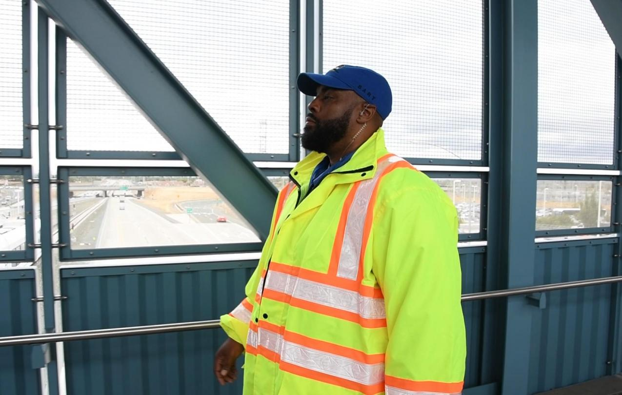 Donald Cornelius, a member of AFSCME Local 3993, walks through the new BART station in Antioch