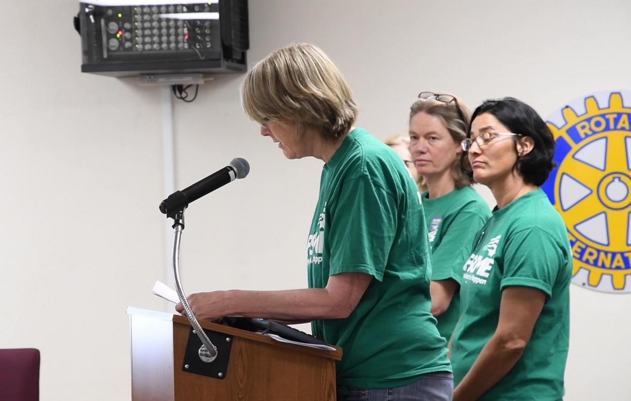 Nurses from AFSCME Local 315 speak at a Northern Inyo Hospital District board meeting about their fight for a fair contract