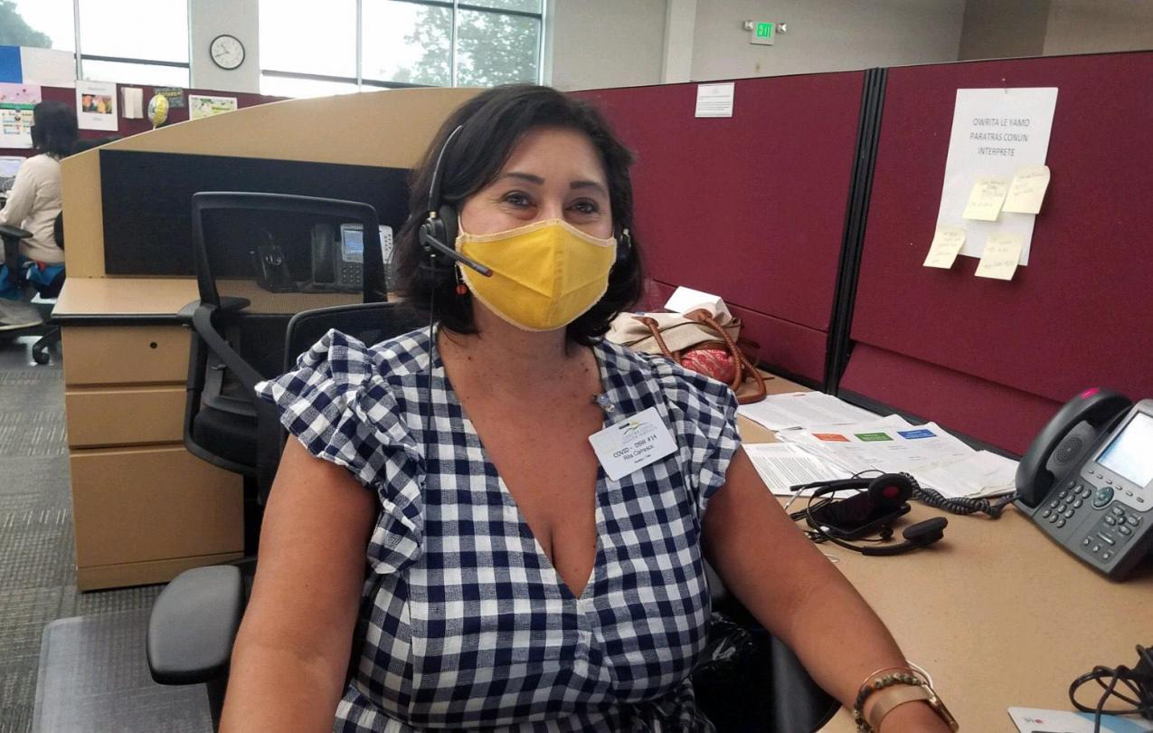 AFSCME Local 1 member and librarian Rita Carrasco has been working as a disaster service worker in the call center during the COVID-19 pandemic.