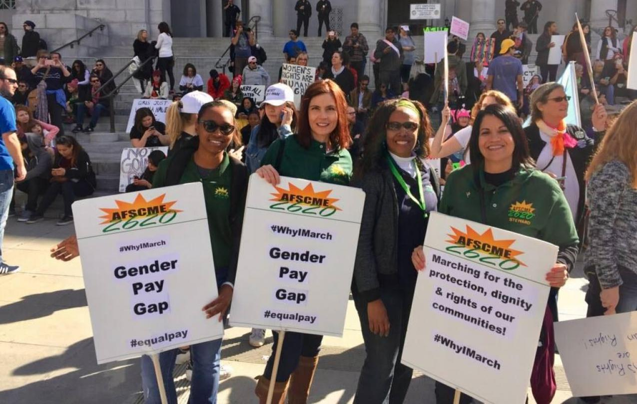 AFSCME Local 2620 members at the Womens March rally in Los Angeles.