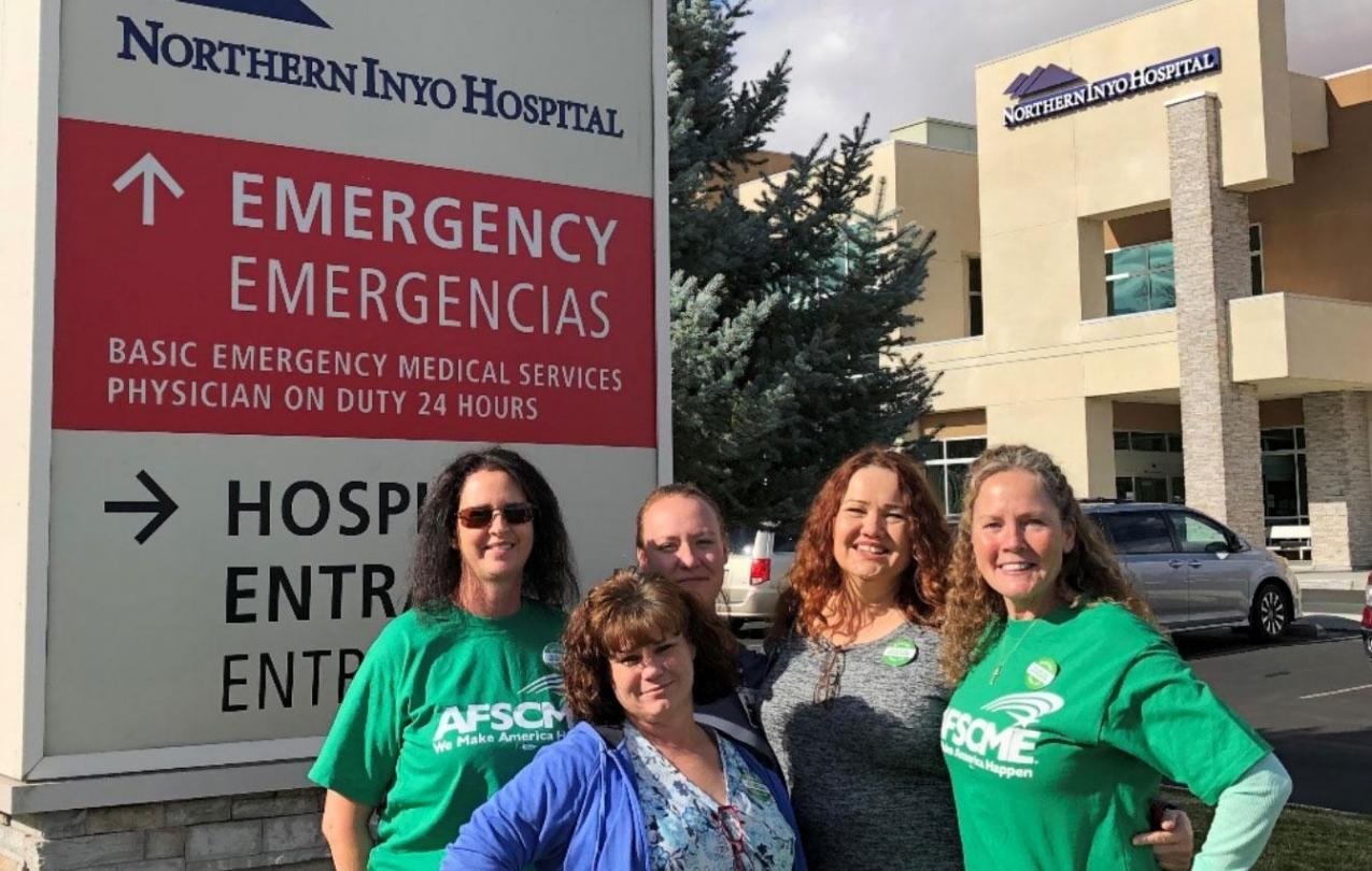 Members of the union organizing committee at the Northern Inyo Hospital District