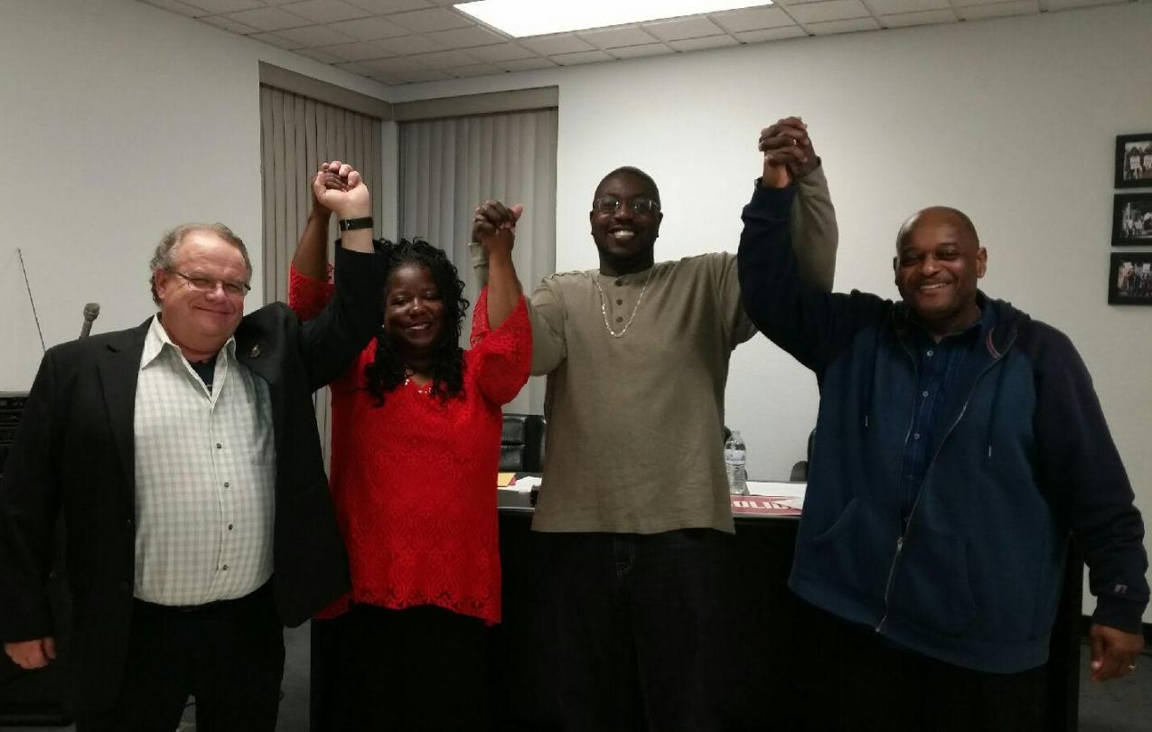 Members of Machinists Local 1584 after their strike victory