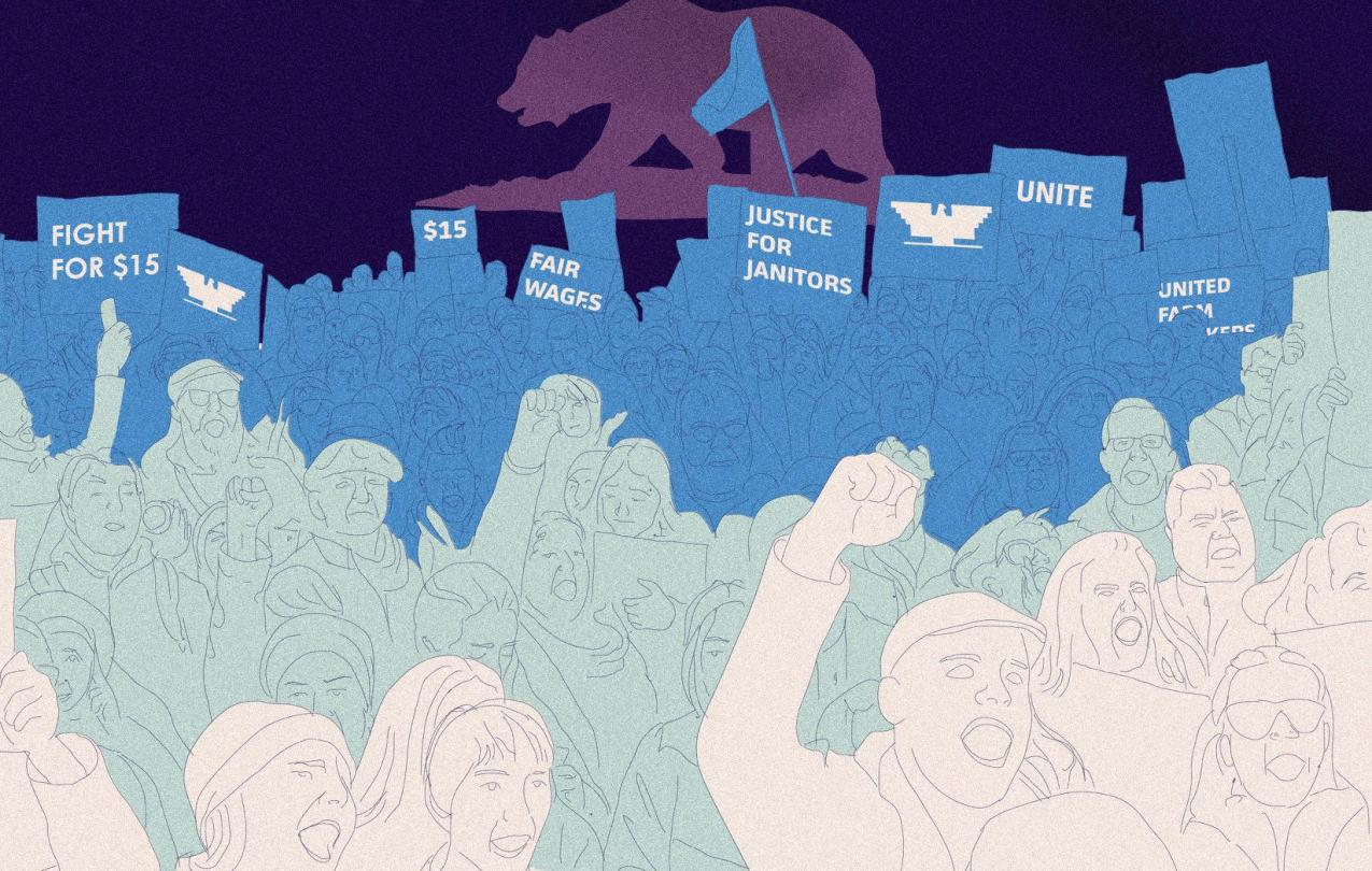 Right-to-work forces see in Janus v. AFSCME a golden opportunity to cripple public-sector unions. (Illustration by Define Urban)