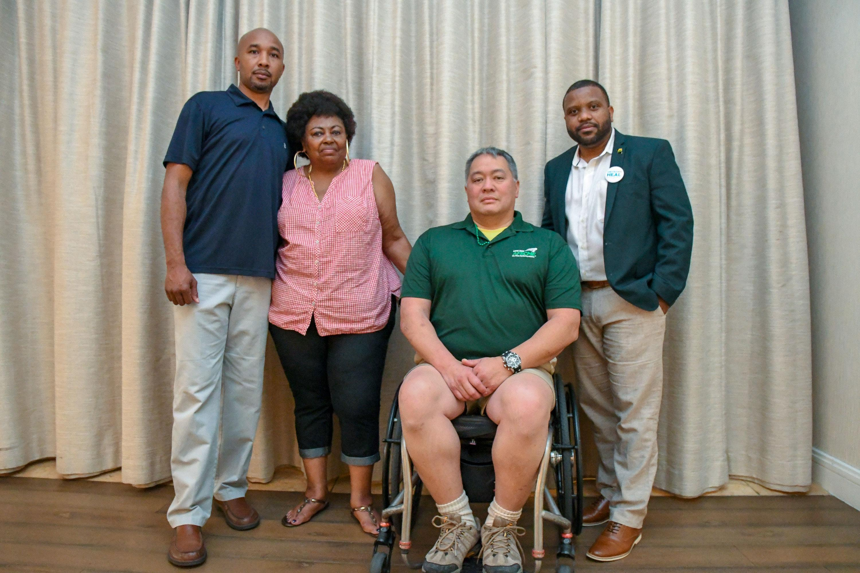 Members of the California State Prison-Lancaster Chapter of AFSCME Local 2620 with Local 2620 board members