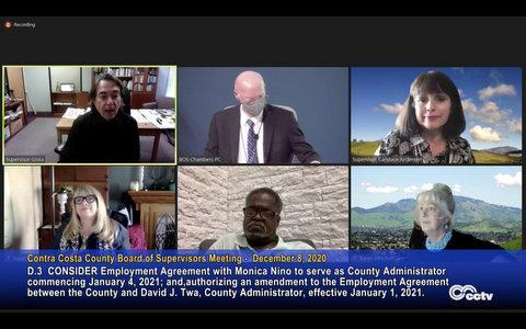 Screenshot of Contra Costa County Board of Supervisors during a board meeting.