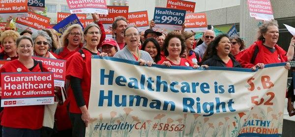 California nurses march for SB 562, the single-payer healthcare legislation