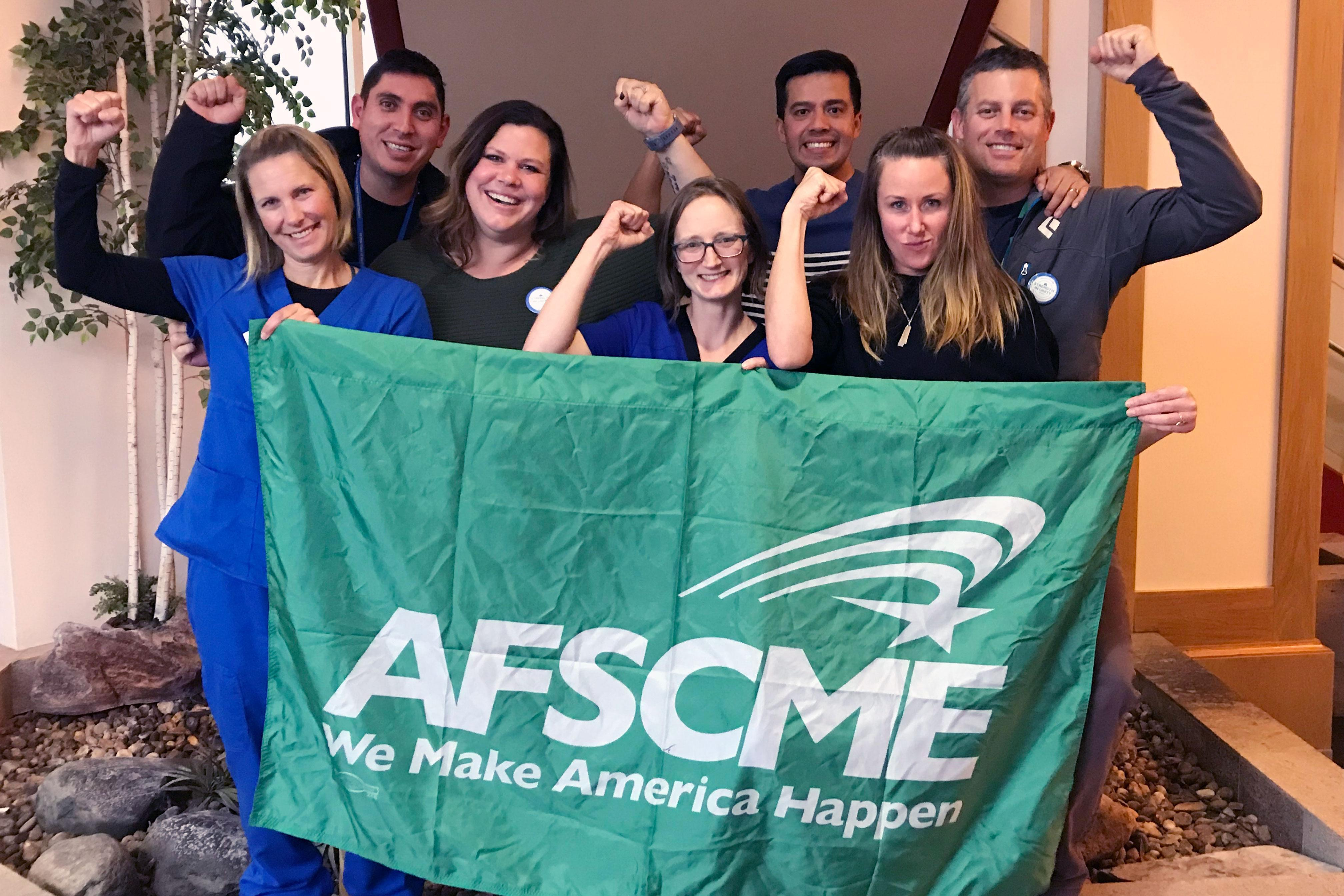 Tahoe Forest Hospital workers celebrate after their election to join AFSCME