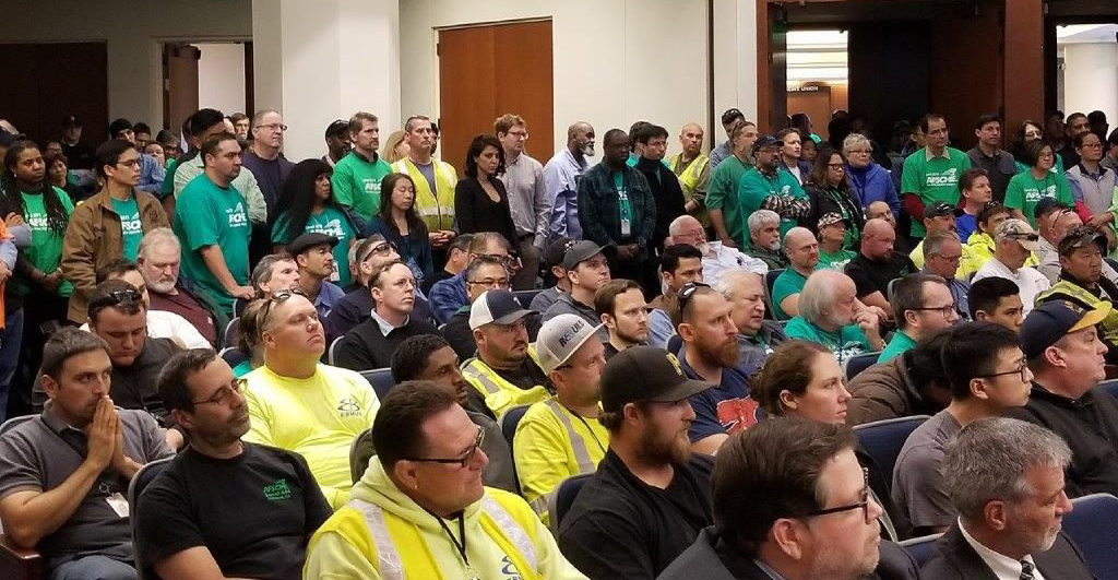 AFSCME Local 2019 members show up in numbers to an East Bay MUD board meeting to show solidarity during contract negotiations